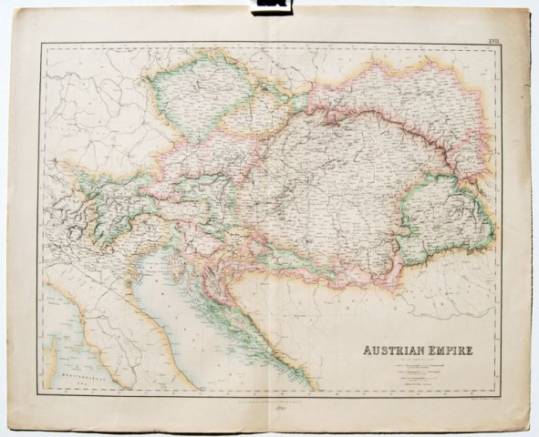 Fullarton map of Austrian Empire 1860 Austria antique map