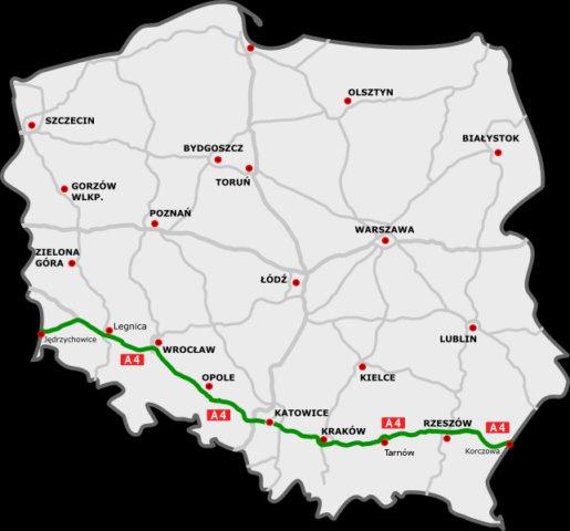 Verlauf des polnischen Teils der A4, Foto: DocelowyUkladDrog.svg: Sliwers , CC BY 3.0
