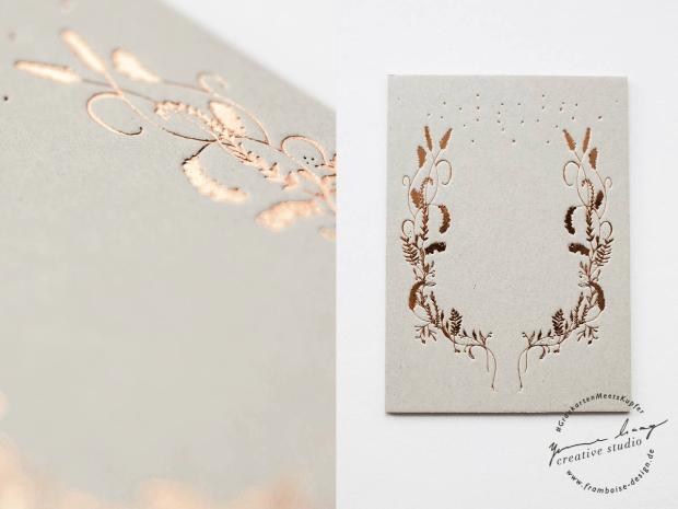 Frambiose Design - Graukarten meets Kupfer Lavendel Papeterie Hochzeit