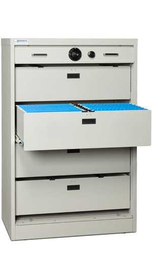 55 Inch High S G Secure Storage Cabinet Open With File Bin Drawers National Master Standing