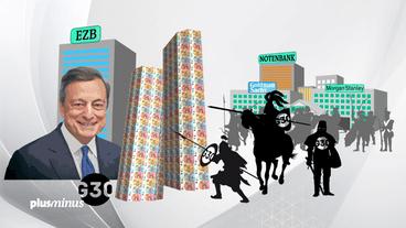 Grafik mit Mario Draghi und Group of 30 bei Angriff auf Bargeld