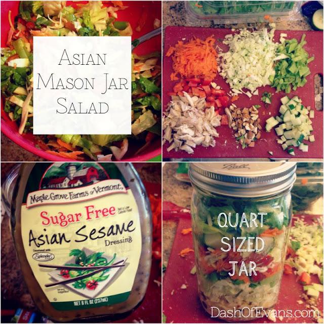 Mason Jar Salad, Asian Salad, Maple Grove Farms Dressing