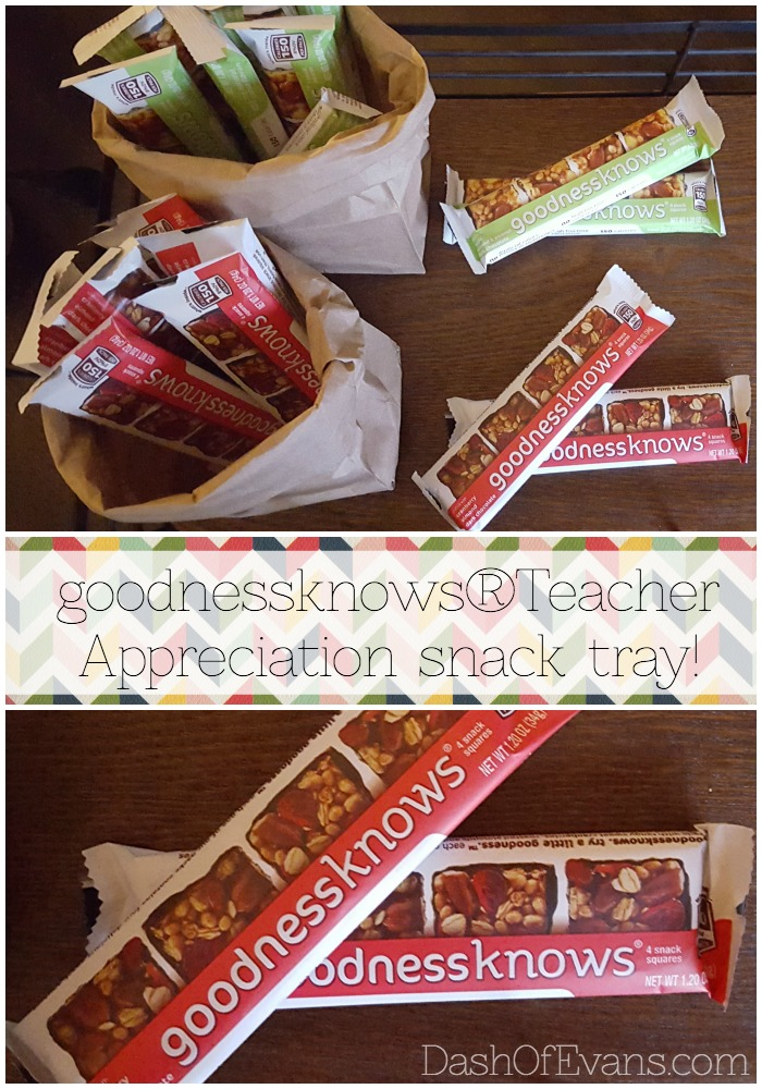 Teacher appreciation snack tray featuring goodnessknows® snack squares! via @DashOfEvans