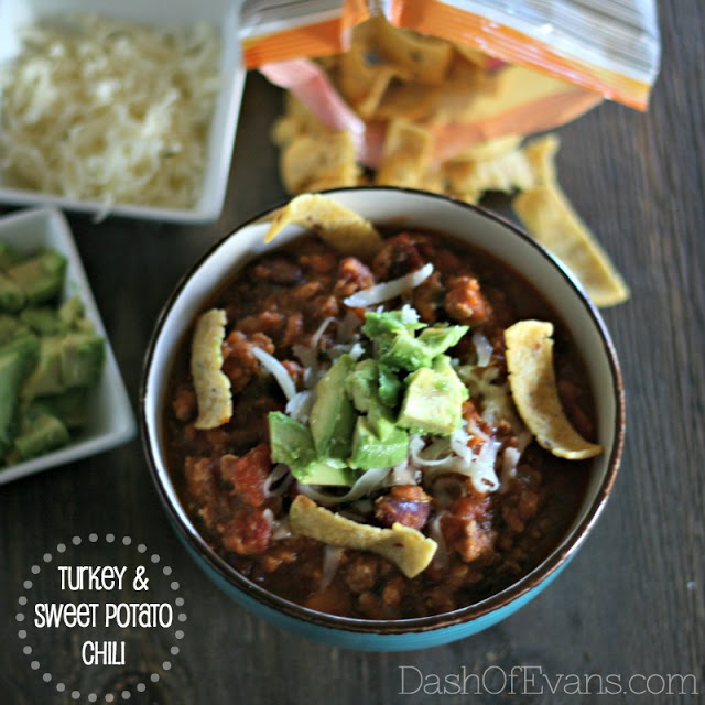 Turkey Chili, Jennie-O ground turkey, chili, sweet potato recipes, Dash of Evans