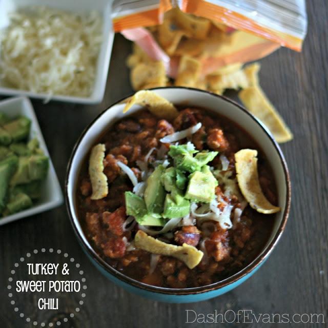 Turkey Chili, Jennie-O ground turkey, chili, sweet potato recipes, Dash of Evans