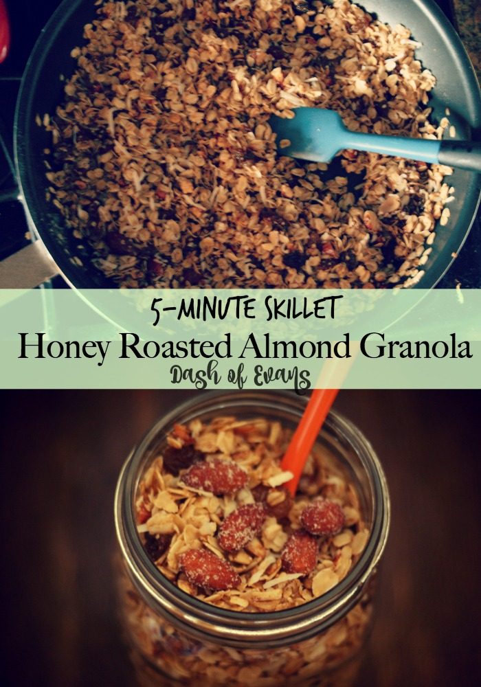 EASIEST GRANOLA EVER: 5-minute skillet recipe! Using Blue Diamond honey roasted almonds, sunflower seeds, coconut and more! • @DashOfEvans