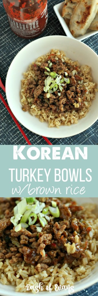 Favorite flavors from Korean Beef, made into a rice bowl with ground turkey! Quick and easy dinner...even the kids LOVE it! via @DashOfEvans