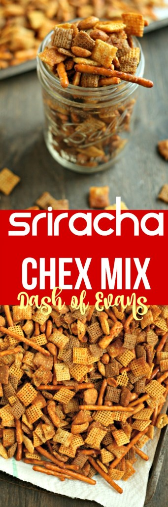 Perfect road trip snack: Sriracha Chex Mix! Crunchy, savory and SO addicting, this is the best party mix ever! via @DashOfEvans