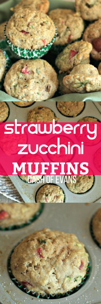 These Strawberry Zucchini muffins are light and fluffy! Perfect for lunchboxes, breakfast or a nice healthy treat! | @DashofEvans