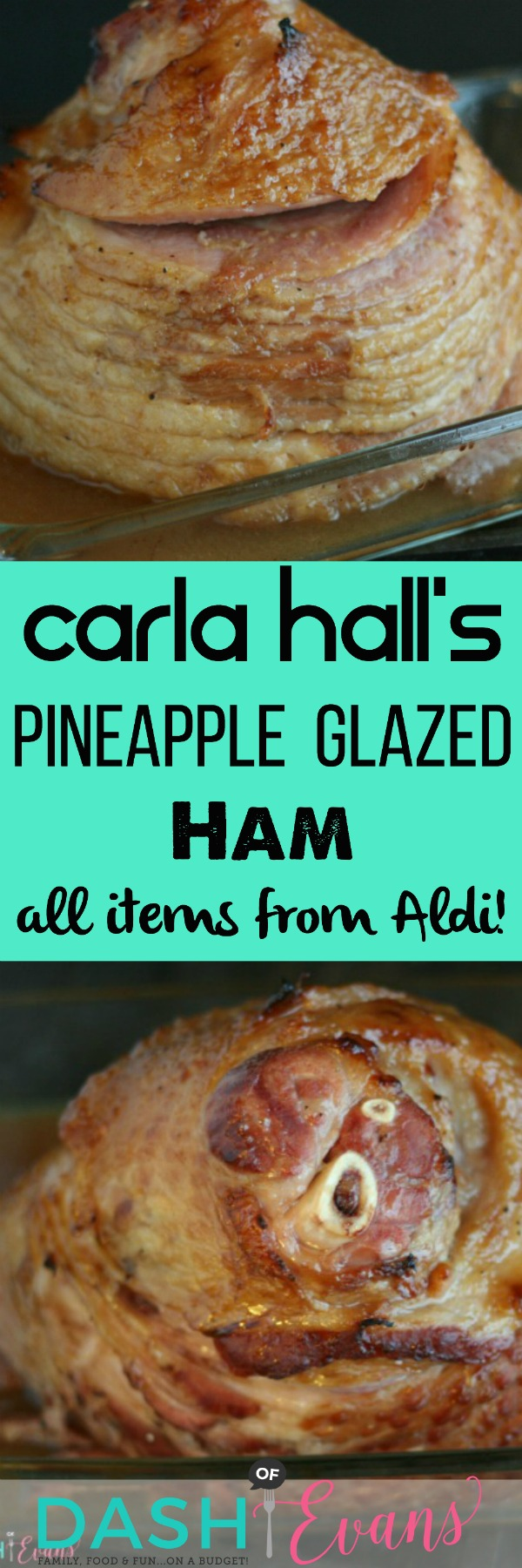 A delcious ham dinner is less than an hour away! Try this delicious pineapple glazed ham recipe from Carla Hall. All ingredients are from Aldi, too! via @DashOfEvans