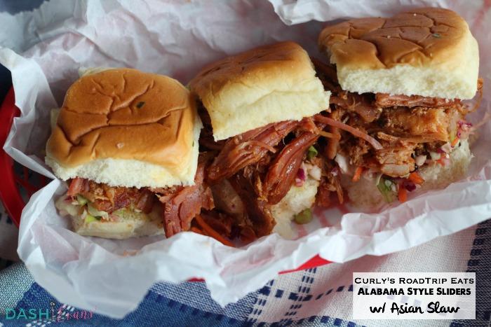 Your new game day favorite: Pulled Pork Belly Sliders w/ Asian Slaw. YUM! via @DashOfEvans #RoadTripEats