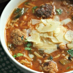 Mini-Meatball Soup with Orzo