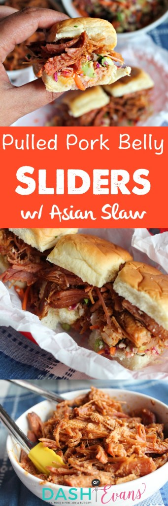 Your new game day favorite: Pulled Pork Belly Sliders w/ Asian Slaw. YUM! via @DashOfEvans #RoadTripEats