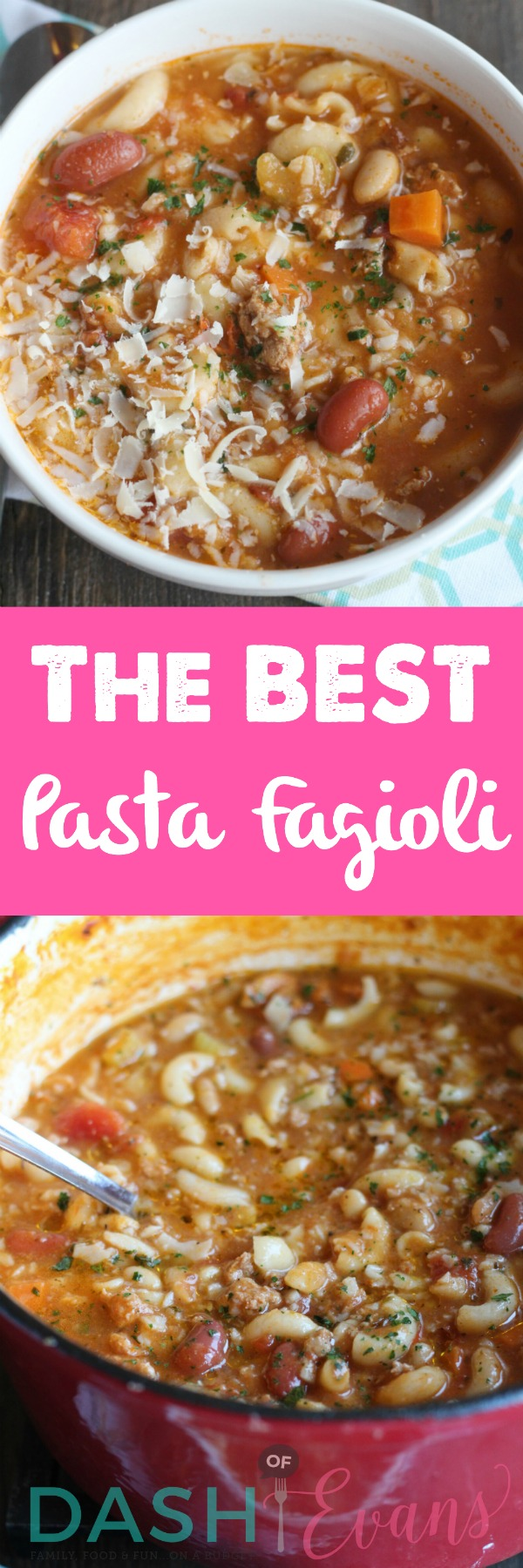 Pasta Fagioli using Randall Mixed Beans. SO hearty and delish! via @DashOfEvans