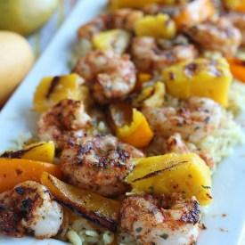 Blackened Shrimp Skewers with Coconut Mango Pilaf Recipe