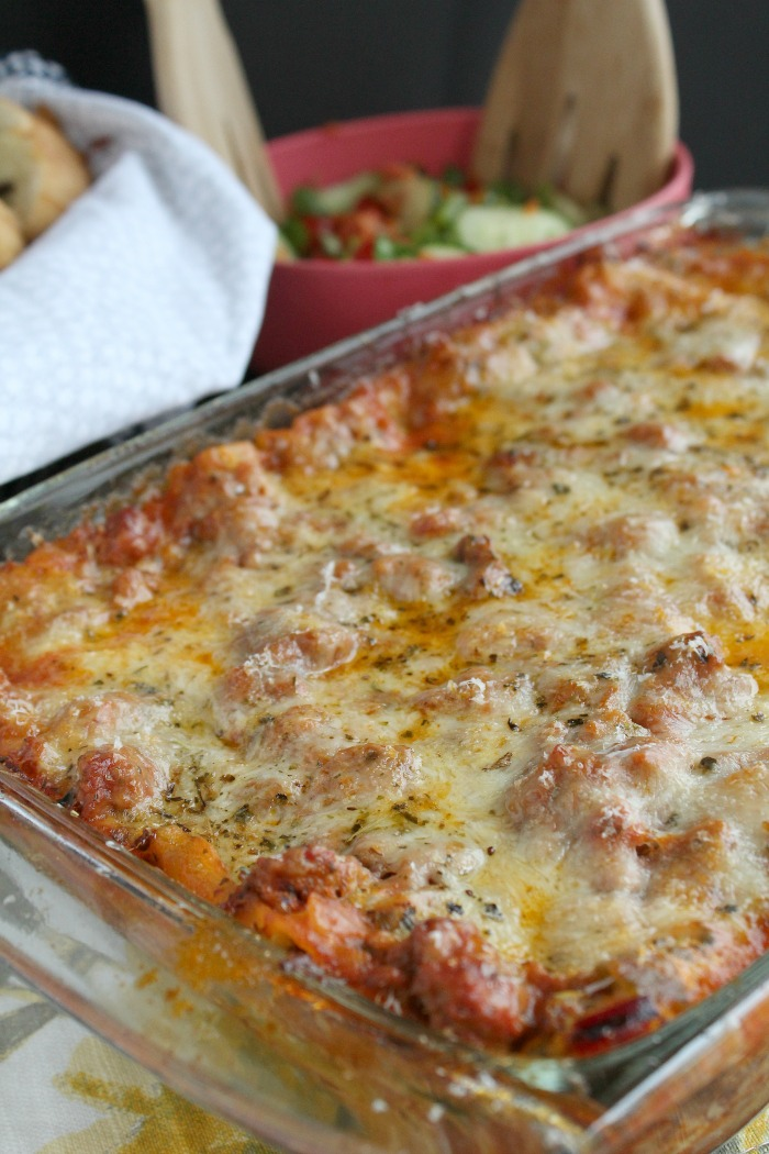 Homestyle Lasagna filled with meat and veggies--perfect comfort food classic! via @DashOfEvans