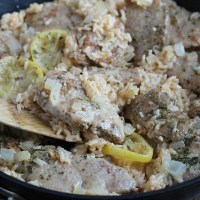 Lemon Herb Pork w/ Rice. Quick and easy one pot meal, perfect for back to school! Sliced Smithfield pork tenderloin paired with a creamy lemon sauce and rice is SO delish. via @DashOfEvans