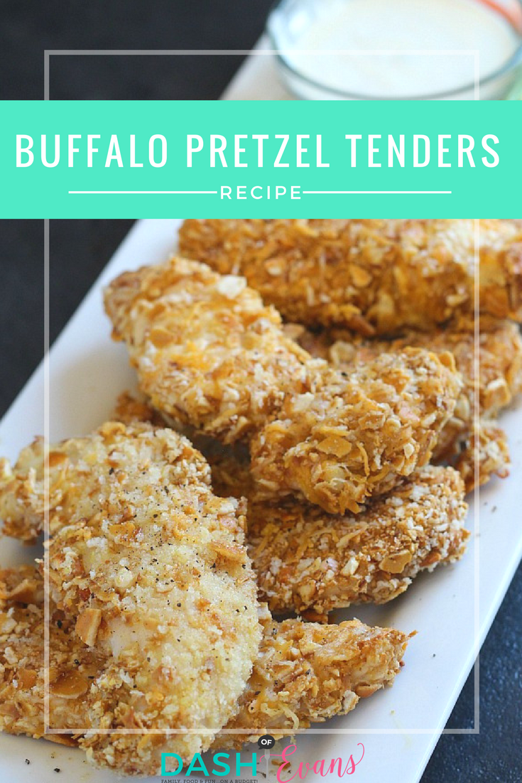 Baked Buffalo Pretzel Tenders. All the crunch you love from fried chicken tenders, baked with Crisco Refined Coconut oil. YUM! via @DashOfEvans