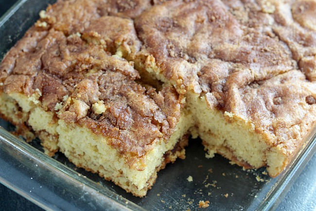 The BEST coffee cake, plus it's easy to make! Light and fluffy with cinnamon and apple cider. Perfect for brunch! via @DashOfEvans
