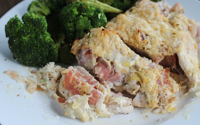 Chicken breasts stuffed with La Terra Fina Lemon Pepper Asiago dip and prosciutto. YUM! via @DashOfEvans