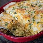 Green Chicken Chili Enchilada Lasagna