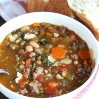 Switch up your soup night with this Sausage and Lentil soup which is packed with veggies. Perfect for that lunchbox thermos too! via @DashOfEvans #PowerYourLunchbox