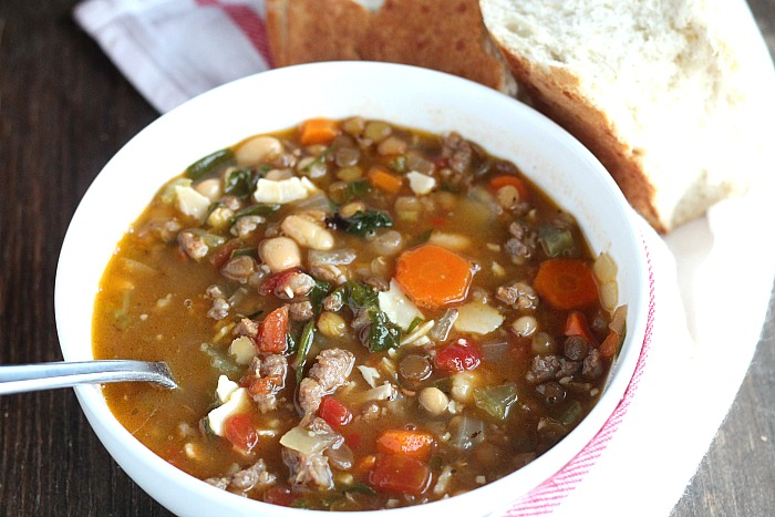 Switch up your soup night with this Sausage and Lentil soup which is packed with veggies. Perfect for that lunchbox thermos too! via @DashOfEvans