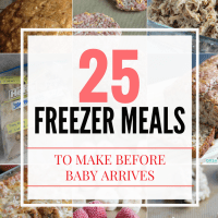 25 Freezer Meals to make before the baby arrives -- super quick and easy favorites so you don't have to cook later on! via @DashOfEvans