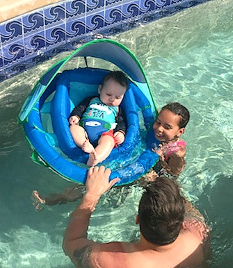 5 Tips for the beach or pool with an infant via @DashOfEvans #AD #SwimWays, #BabySpringFloat, #SpringFloat #FloatwithSwimWays, #MC