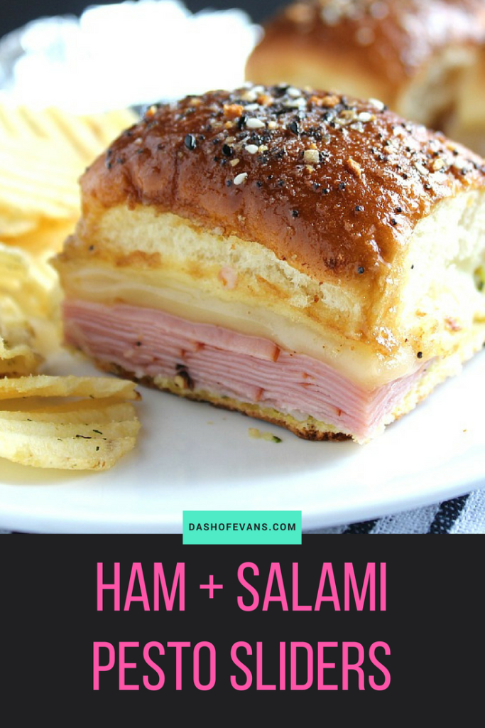 Easy weeknight staple meal: Hawaiian roll sliders. This version has an Italian twist with pesto and provolone. YUM! via @DashOfEvans