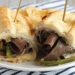 This is the ultimate Roast Beef Sandwich! A little kick from horseradish mayo, crunchy grilled onions and peppers, plus melted cheese with Prime Fresh roast beef. YUM! The final touch: an au jus dunk! via @DashOfEvans #PrimeFreshDeli