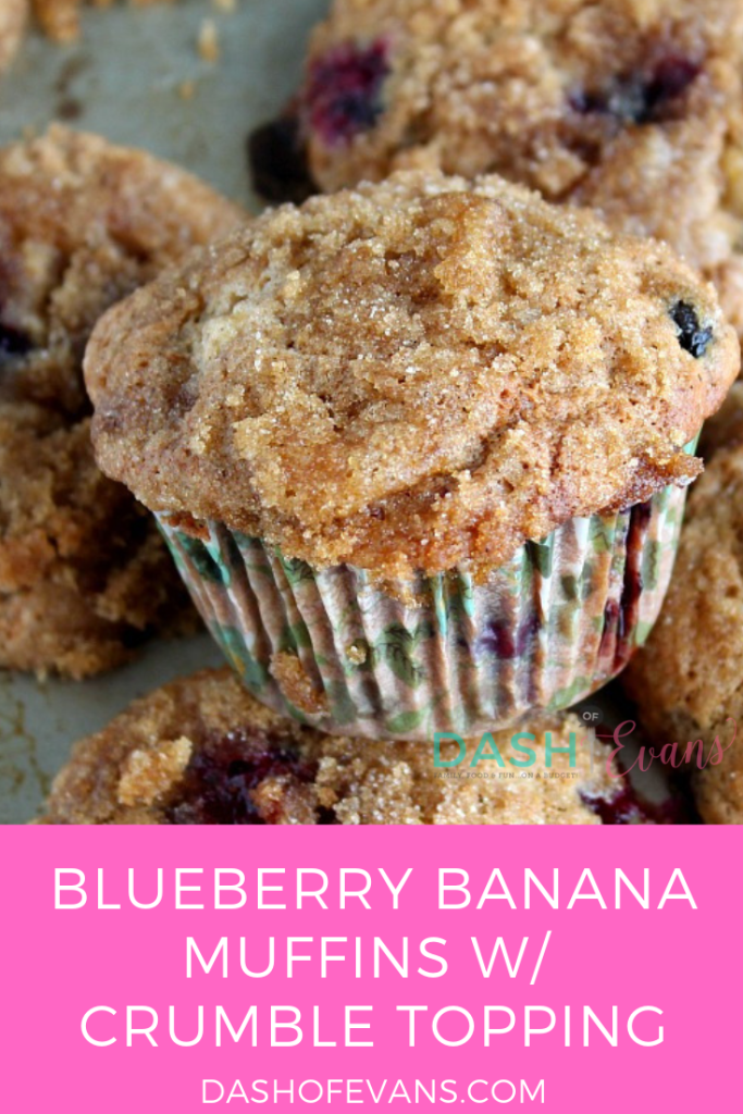 Great for breakfast, snacks and lunchboxes, these Banana Blueberry Muffins are easy to bake up--let the kids help! via @DashOfEvans