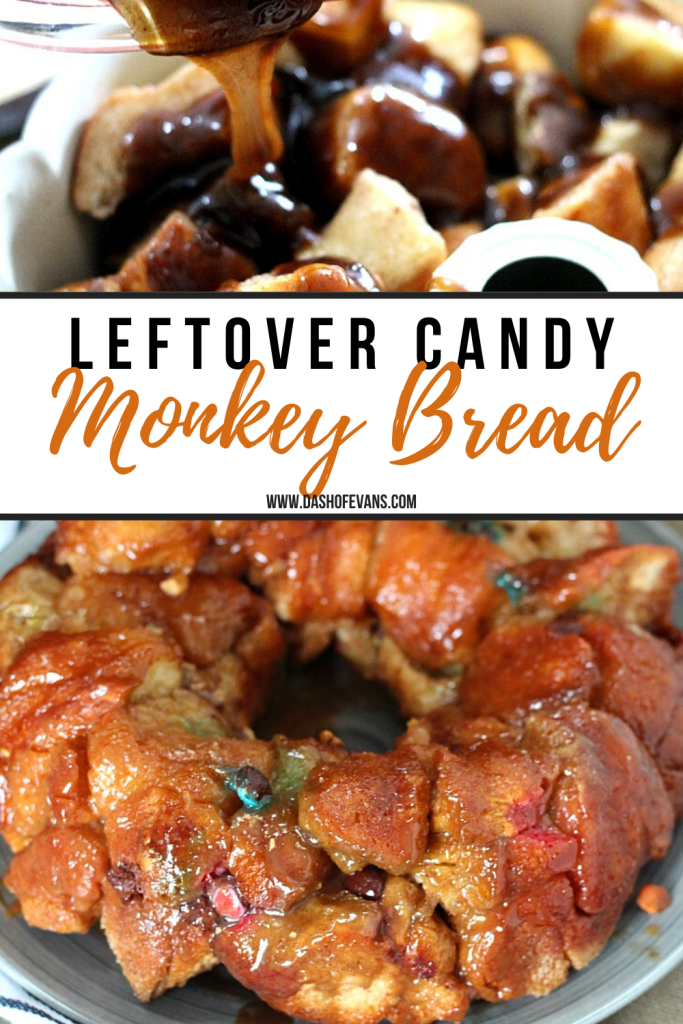 AD: This easy, gooey monkey bread recipe is a perfect way to use up leftover Halloween candy, or just for a sweet treat! Using fluffy King's Hawaiian rolls, this recipe couldn't be easier! via @DashOfEvans #Hallowaiian, #FeedMonstrousAppetites, #KingsHawaiian #IC