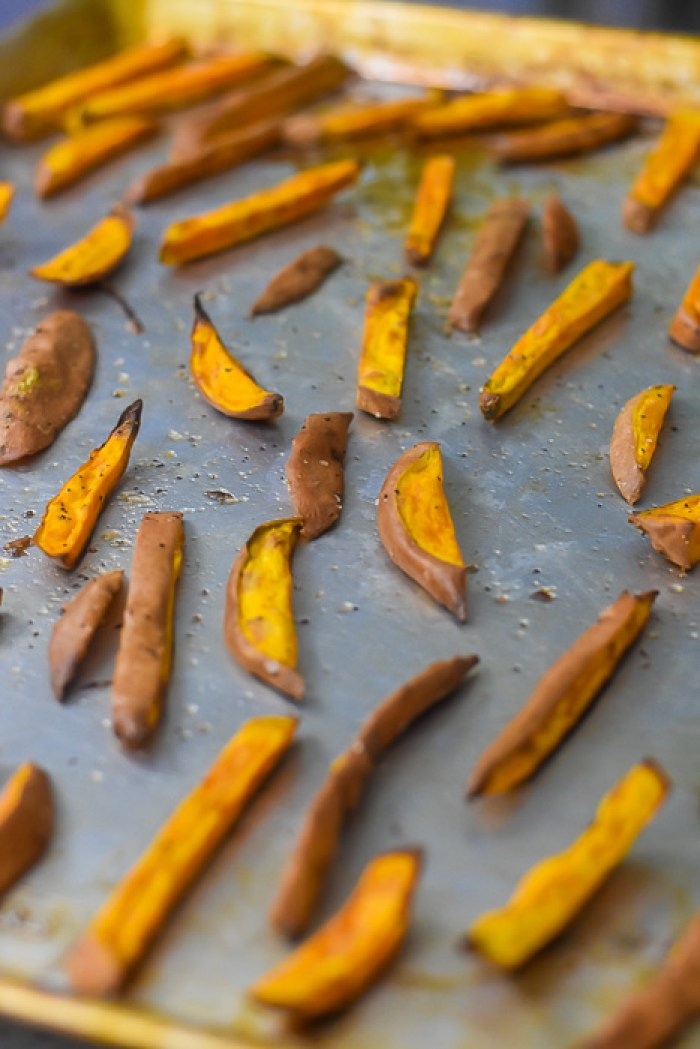 baked sweet potato fries on pan