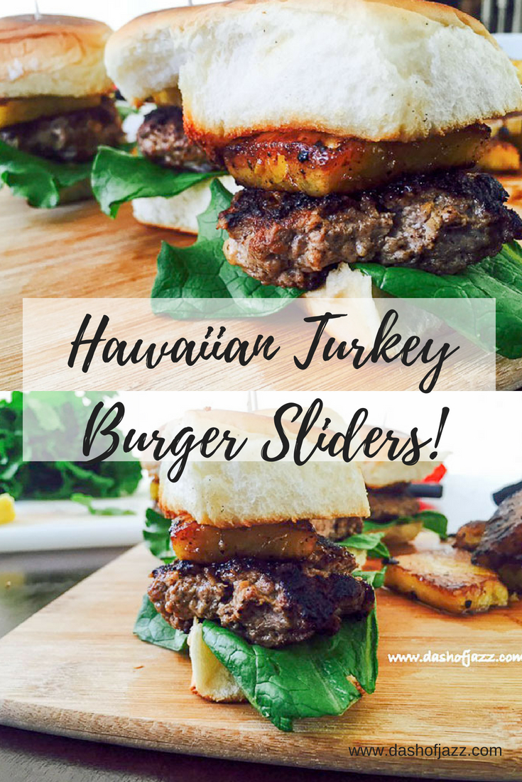 Hawaiian Turkey Burger Sliders = Juicy turkey patties, tender lettuce, and grilled ginger pineapple sandwiched between King\'s Hawaiian rolls. Perfect for game day, luau parties, and summer entertaining! Recipe by Dash of Jazz