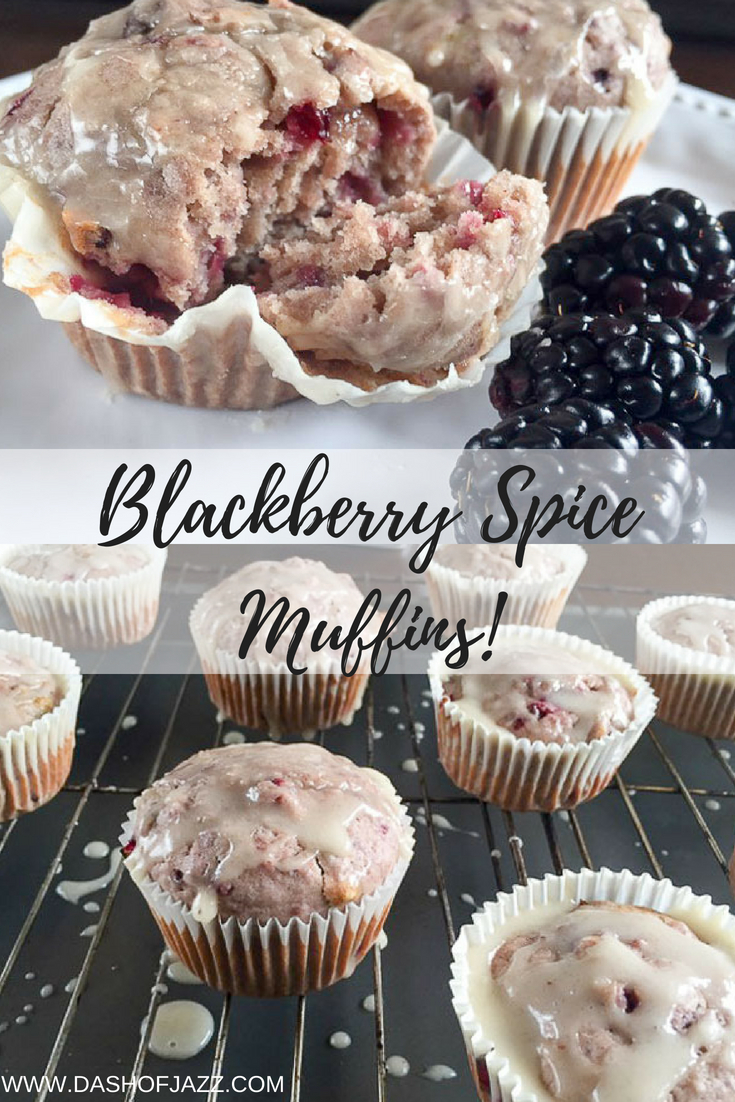 Fresh, tart blackberries meet a classic baking spice trio in these easy blackberry spice muffins. Click for the full recipe by Dash of Jazz! #baking #muffins