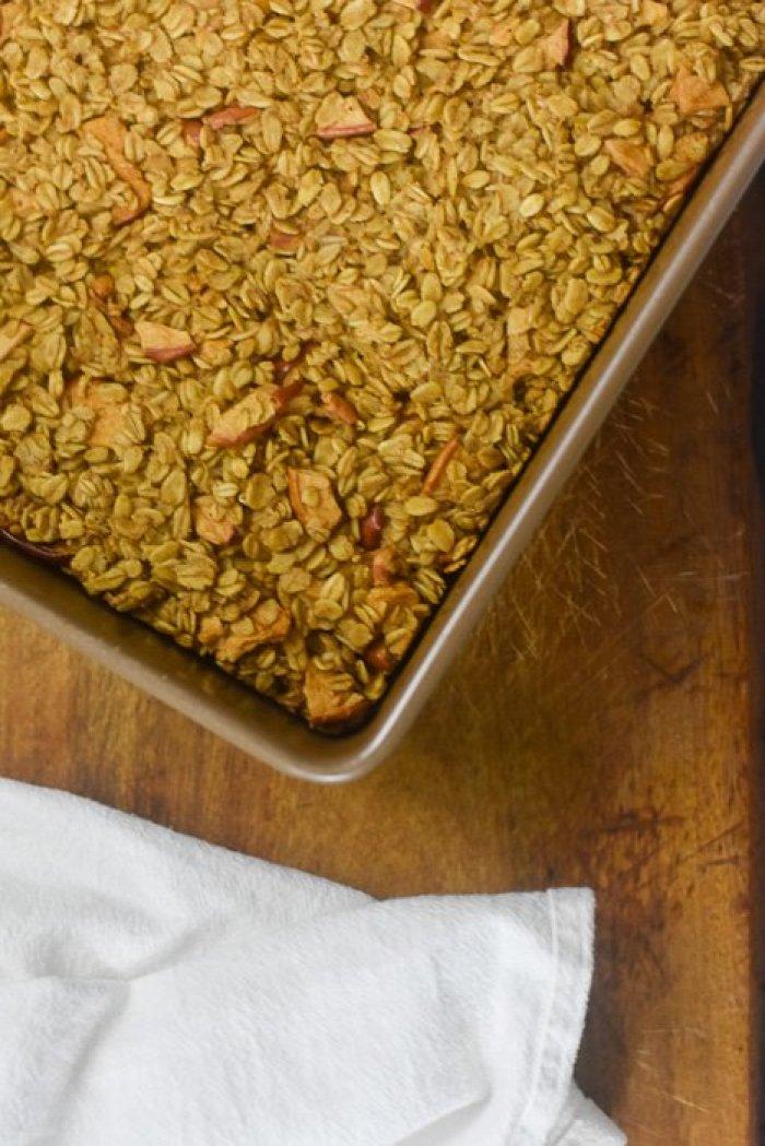 pan of baked apple cinnamon oatmeal