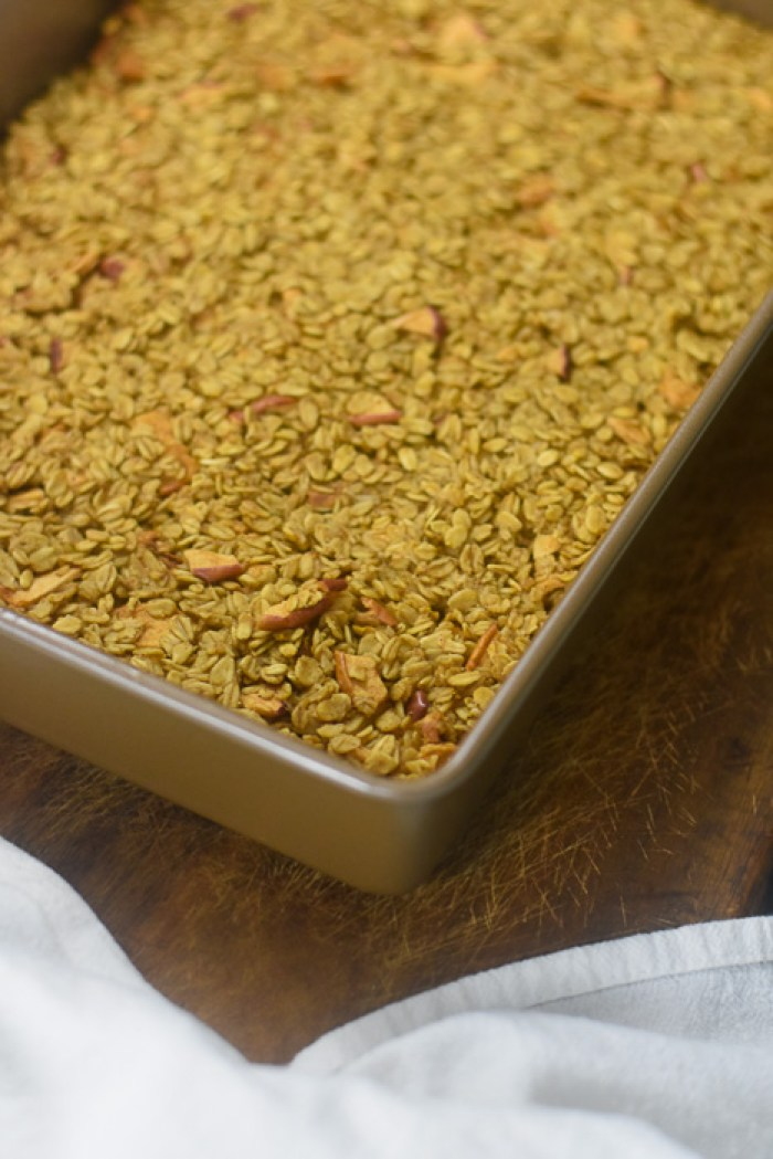 apple cinnamon baked oatmeal on cutting board