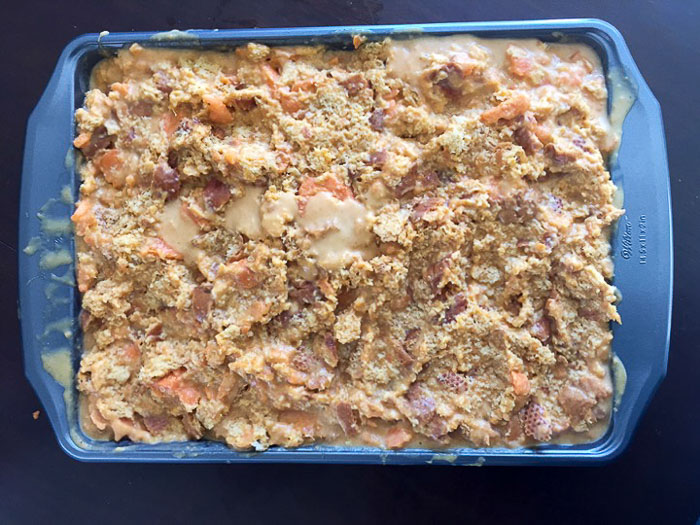 sweet potato bread pudding before going into the oven