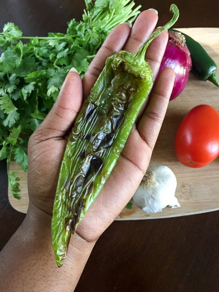 holding roasted hatch chile