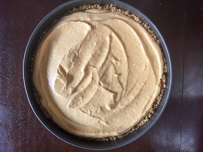 unbaked pumpkin cheesecake