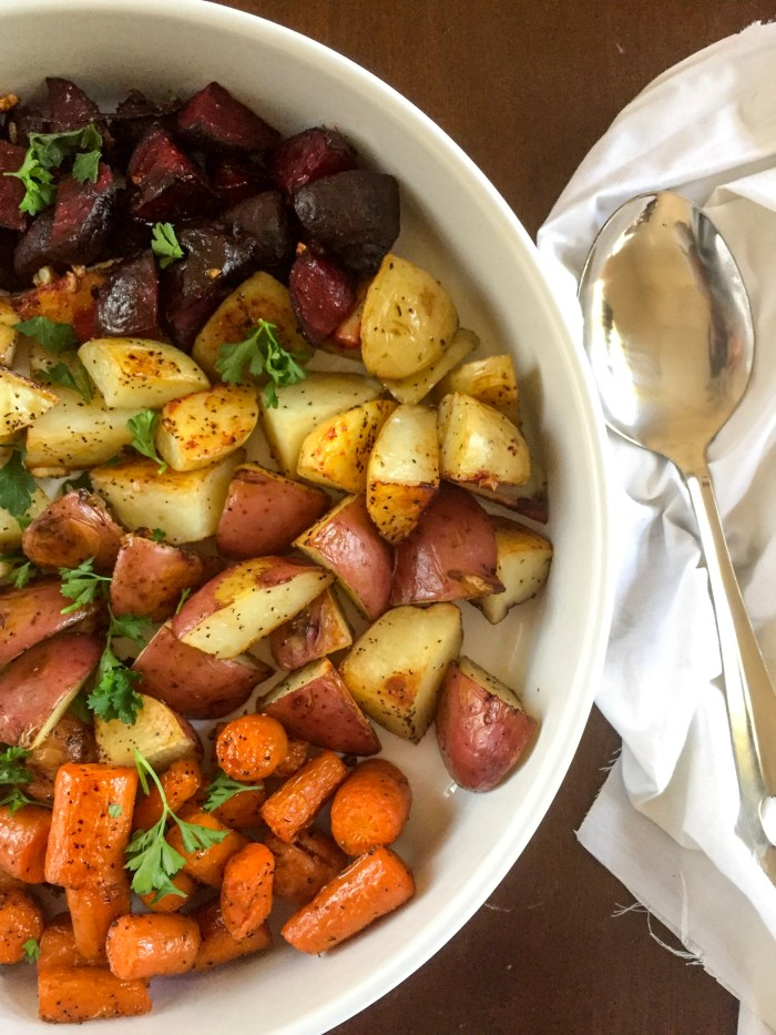 Make these easy roasted root veggies--carrots, red and white potatoes, and beets with just a few other ingredients-- for your next Fall dinner. recipe by Dash of Jazz