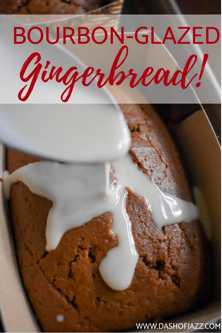 Get the easy recipe for mini gingerbread loaves topped with a simple bourbon whiskey glaze for all your holiday baking needs here. Recipe by Dash of Jazz #bourbonbakingrecipes #holidaybakingrecipes #boozybaking #gingerbreadrecipes #Christmasrecipes #Christmasbaking