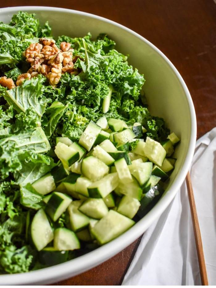 crunchy kale salad with walnuts and cucumber