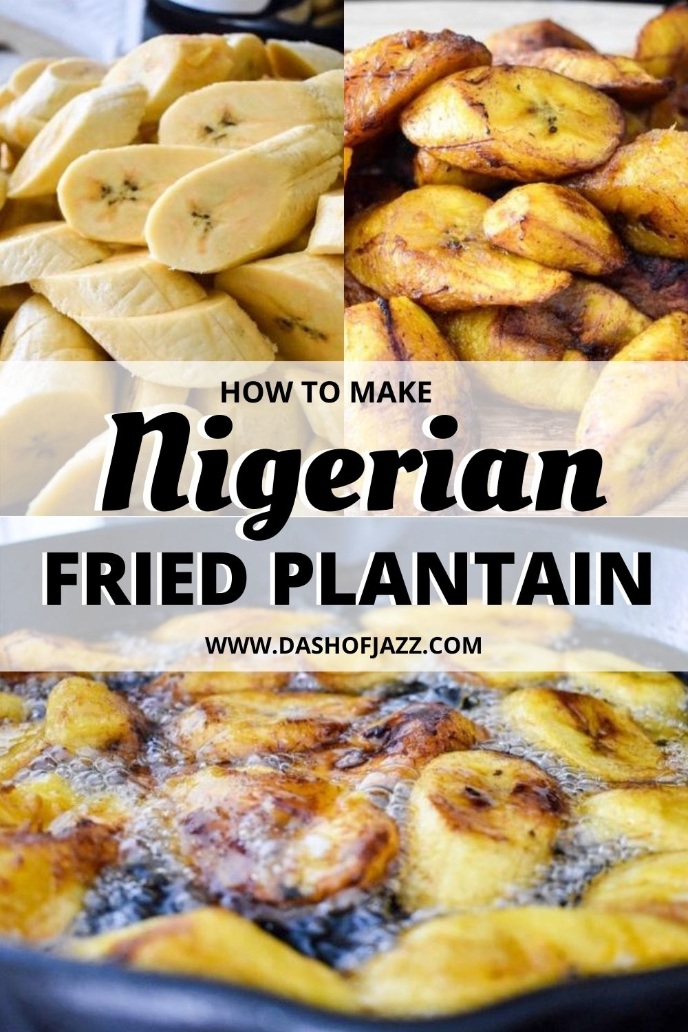 collage of fried plantain process images