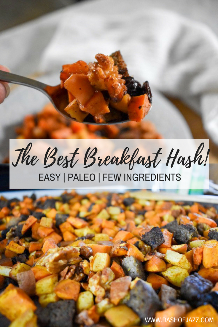 This easy and filling breakfast hash has sweet and savory flavors, just a few ingredients, and is perfect for weekly meal prepping! Recipe by Dash of Jazz #breakfastideas #mealprep