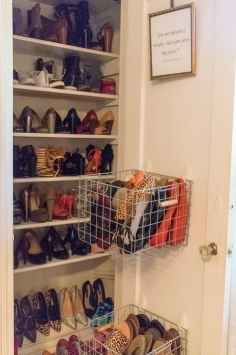 finished organized shoe closet