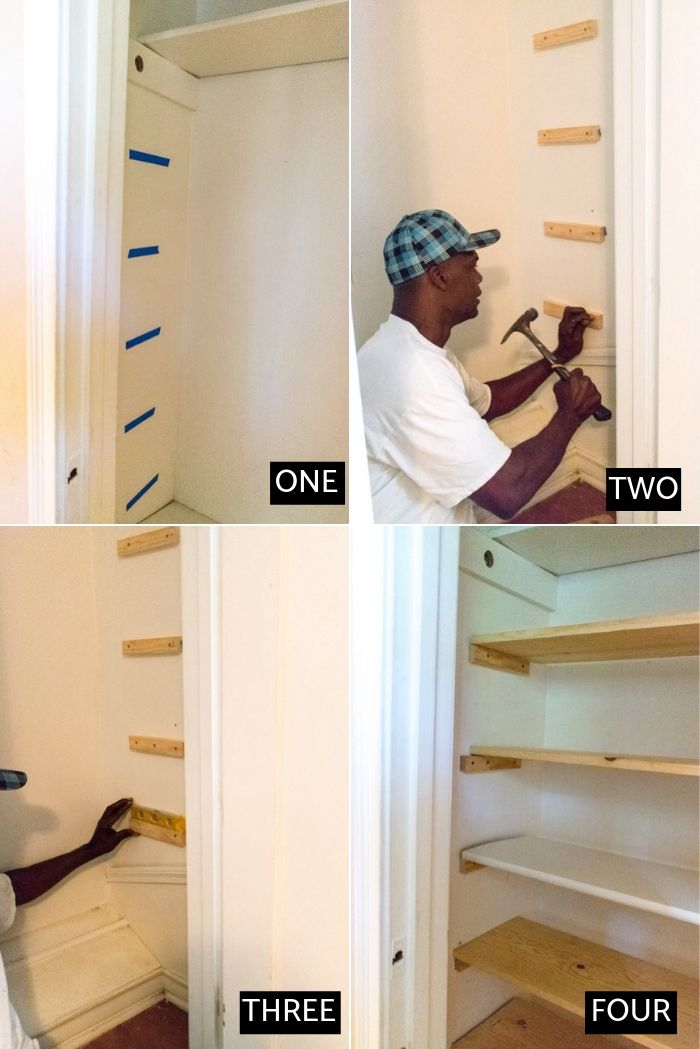 step by step process of installing shoe closet shelves