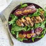Grilled sesame chicken with beets & arugula is an easy, 4-ingredient meal salad with amazing flavors from a marinade that doubles as a dressing! by Dash of Jazz