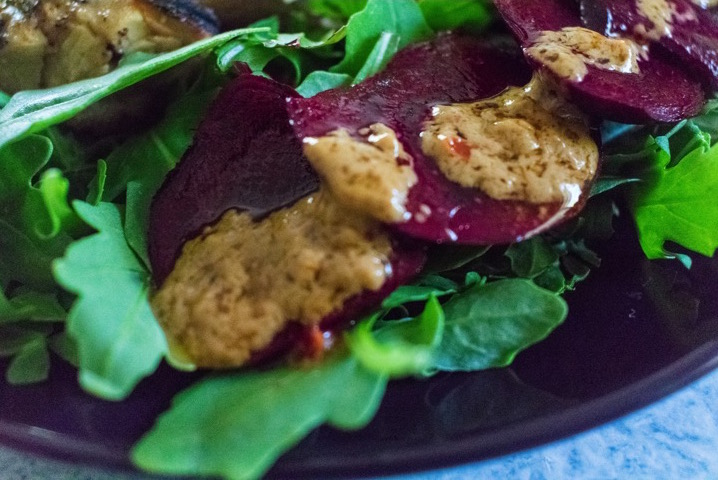 Grilled Sesame Chicken with Arugula & Beets